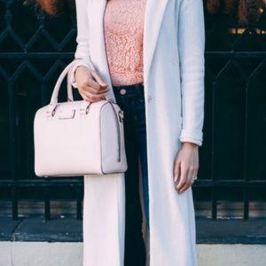 White Leather Top Handle Crossbody Bag
